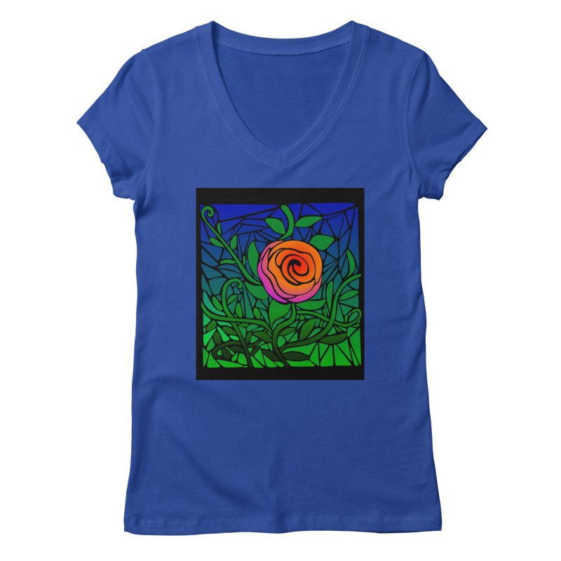 Thorny Roses Stained Glass Women's Regular V-Neck by elledeegee's Artist Shop