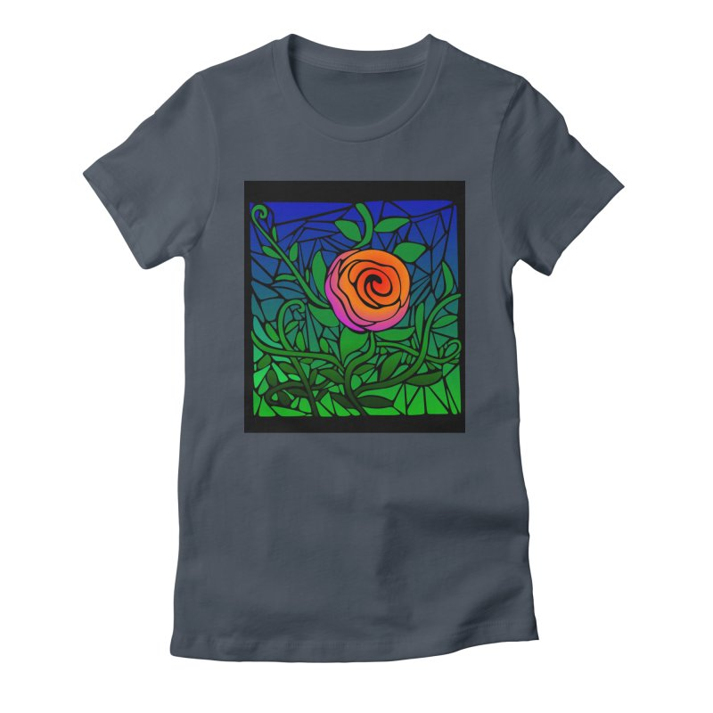 Thorny Roses Stained Glass Women's T-Shirt by elledeegee's Artist Shop