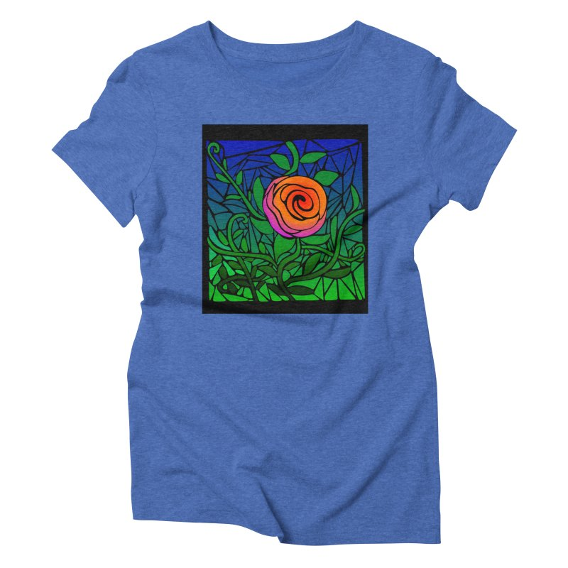 Thorny Roses Stained Glass Women's Triblend T-Shirt by elledeegee's Artist Shop