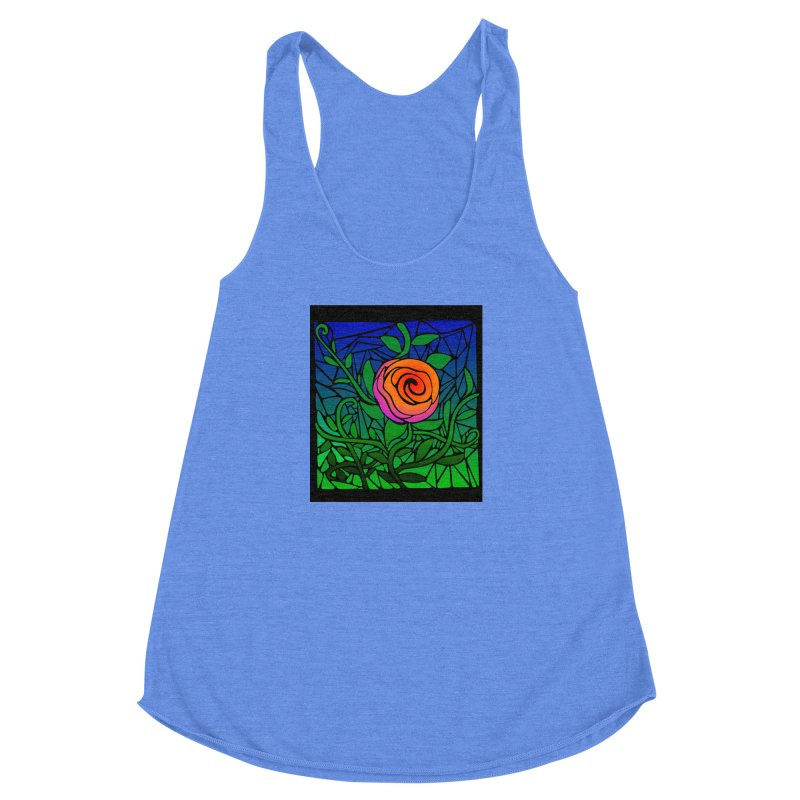 Thorny Roses Stained Glass Women's Racerback Triblend Tank by elledeegee's Artist Shop