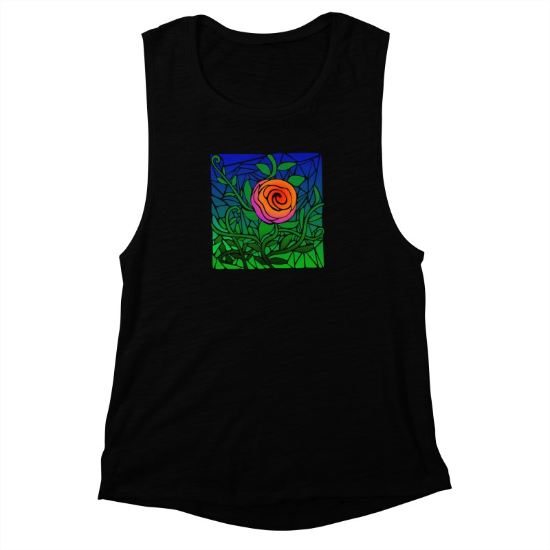 Thorny Roses Stained Glass Women's Muscle Tank by elledeegee's Artist Shop