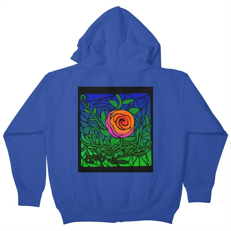 Thorny Roses Stained Glass Kids Zip-Up Hoody by elledeegee's Artist Shop