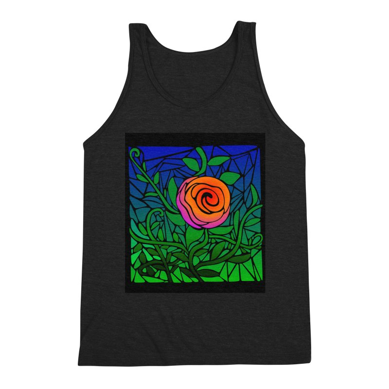 Thorny Roses Stained Glass Men's Triblend Tank by elledeegee's Artist Shop