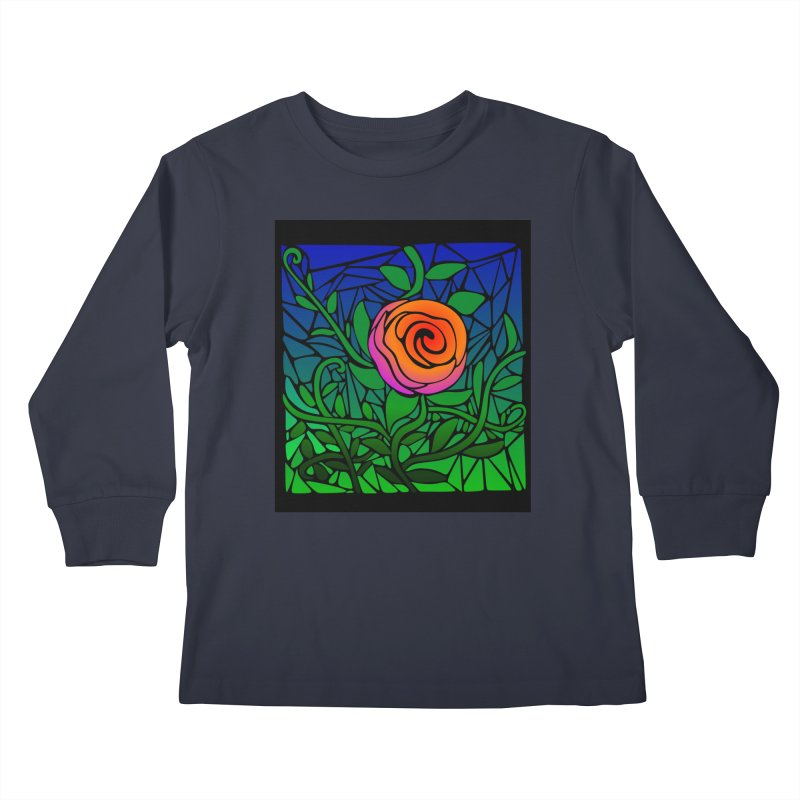 Thorny Roses Stained Glass Kids Longsleeve T-Shirt by elledeegee's Artist Shop