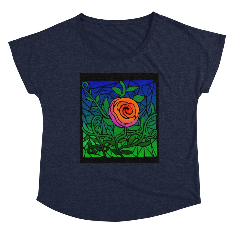 Thorny Roses Stained Glass Women's Scoop Neck by elledeegee's Artist Shop