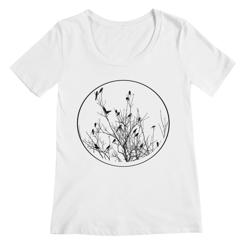 Grackle Tree Women's Regular Scoop Neck by elledeegee's Artist Shop