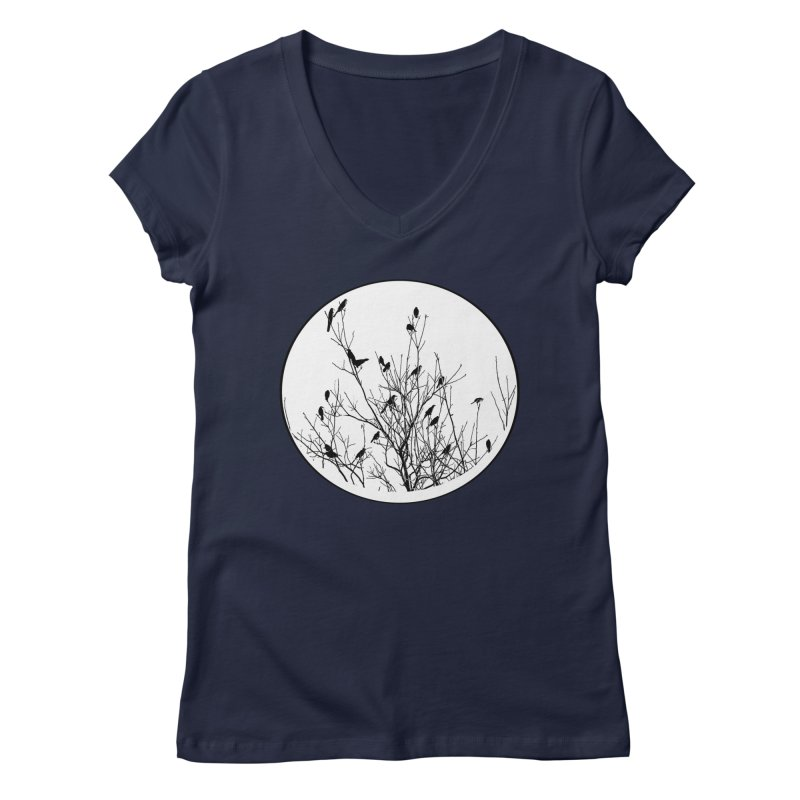 Grackle Tree Women's Regular V-Neck by elledeegee's Artist Shop