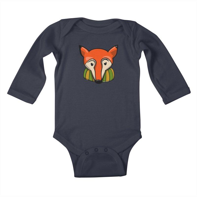 Foxy Kids Baby Longsleeve Bodysuit by elledeegee's Artist Shop