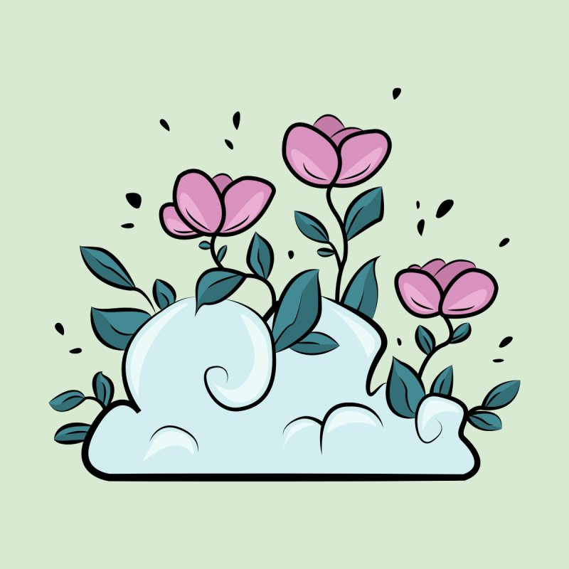 Flower Cloud on green by Ellen Wilberg
