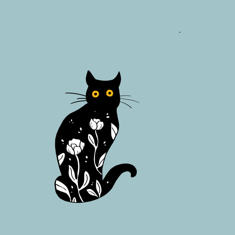 Floral cat illustration by Ellen Wilberg