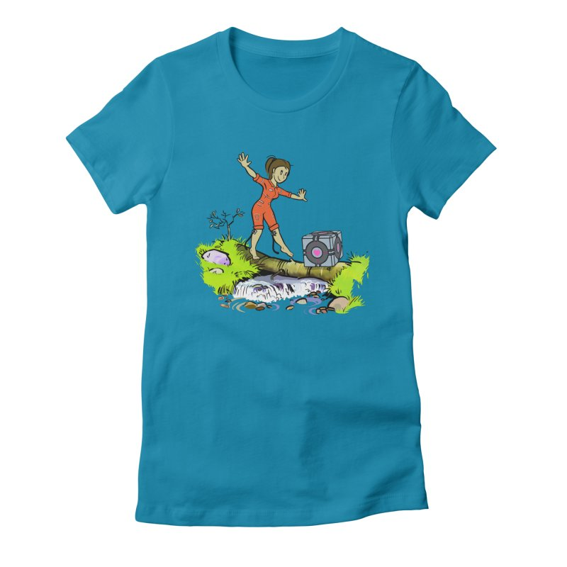 There's Testing Everywhere! in Women's Fitted T-Shirt Turquoise by Ellipsis