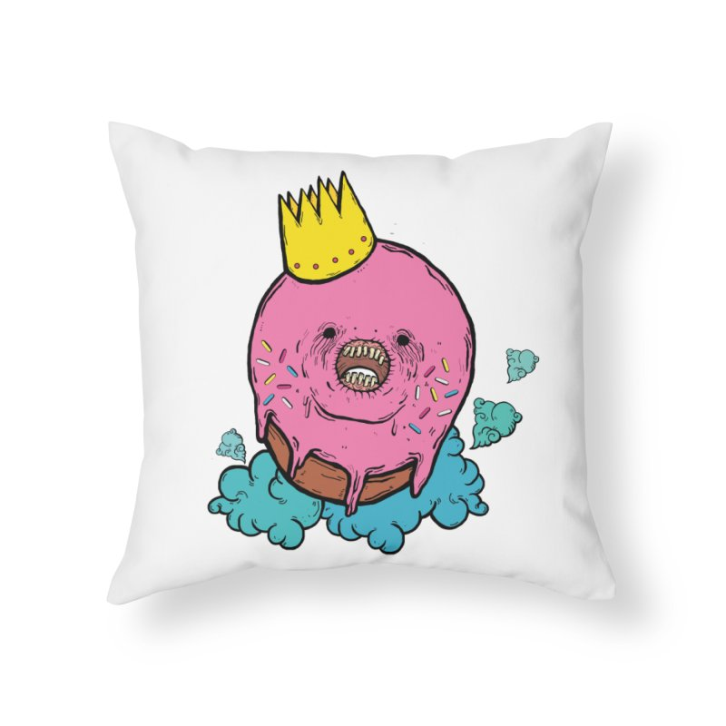 Donut King Home Throw Pillow by ellooelloo