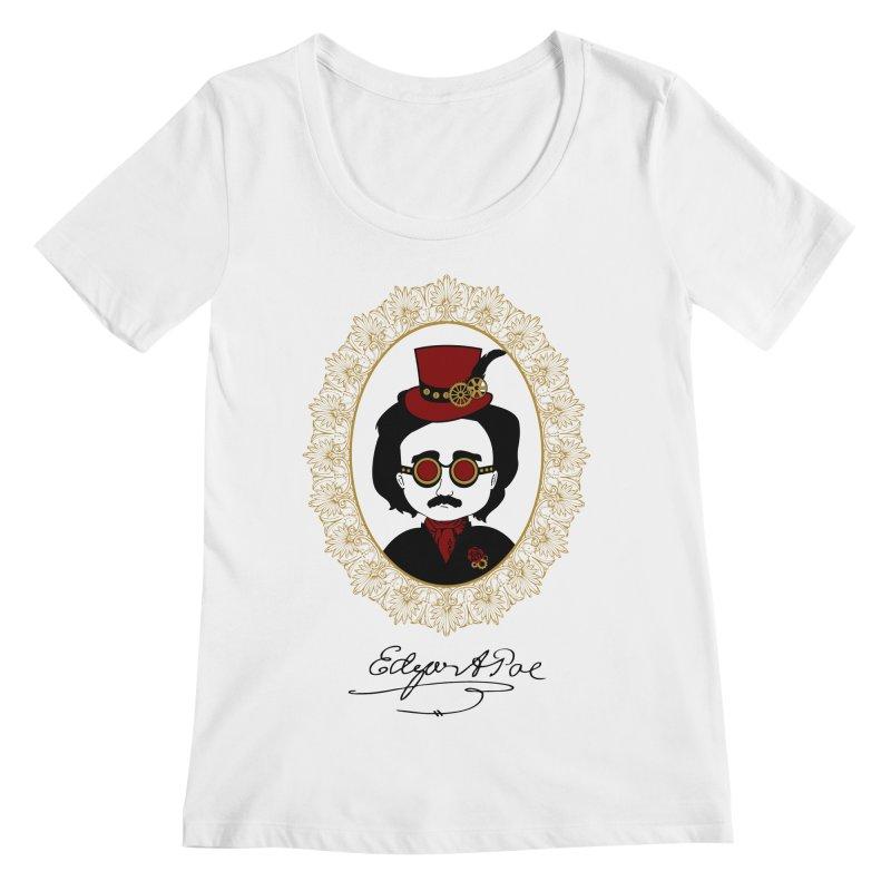 Steampunk Edgar Allan Poe - 2 Women's Scoopneck by Ellygator's Artist Shop