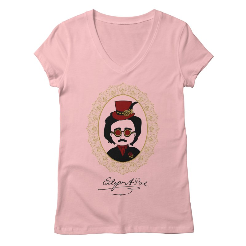Steampunk Edgar Allan Poe - 2 Women's V-Neck by Ellygator's Artist Shop