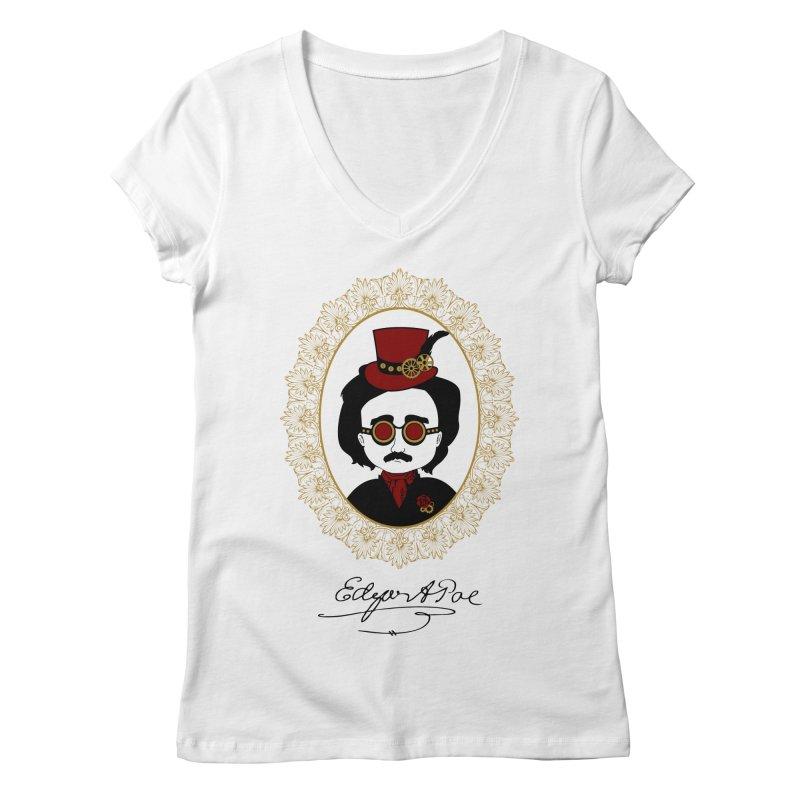 Steampunk Edgar Allan Poe - 2 Women's V-Neck by Ellygator's Artist Shop