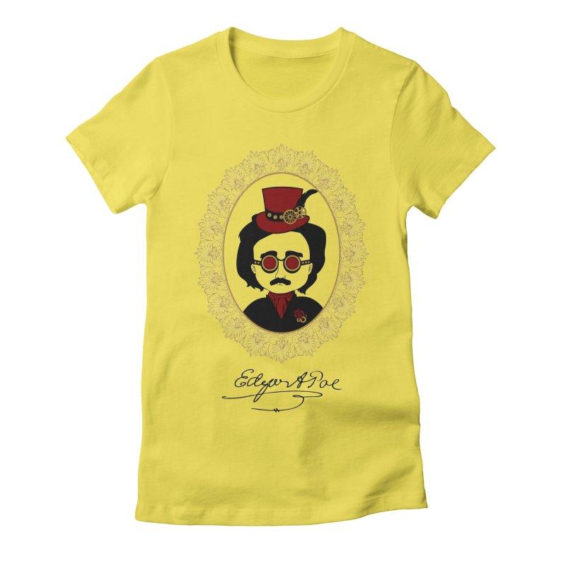 Steampunk Edgar Allan Poe - 2 Women's Fitted T-Shirt by Ellygator's Artist Shop