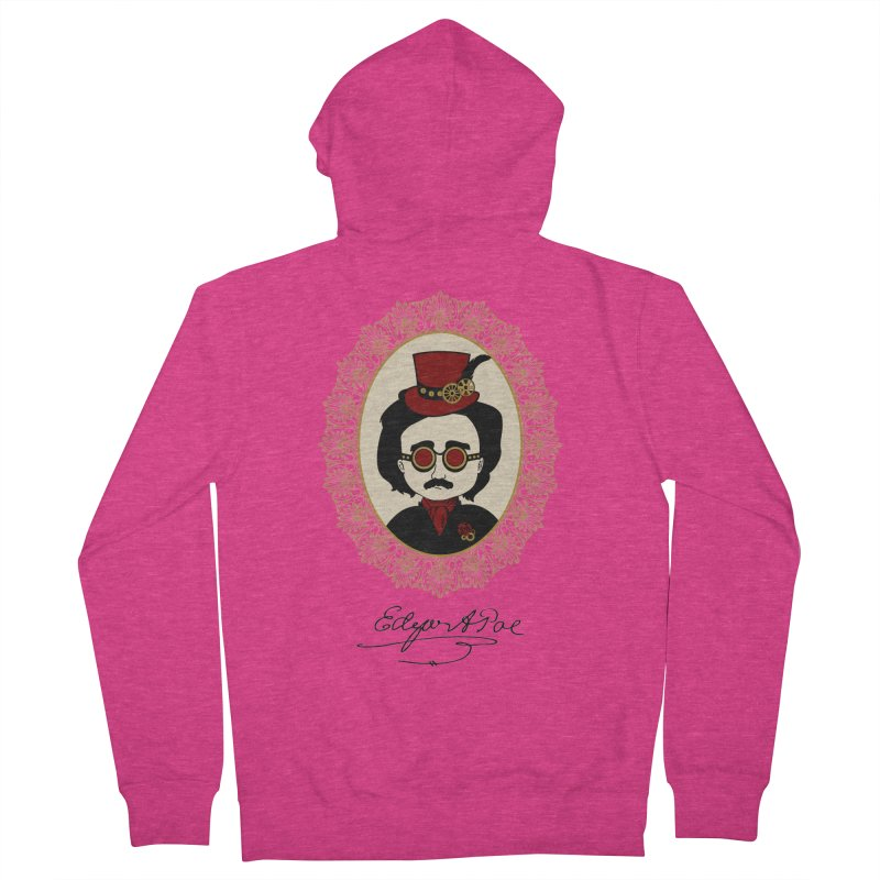 Steampunk Edgar Allan Poe Women's Zip-Up Hoody by Ellygator's Artist Shop