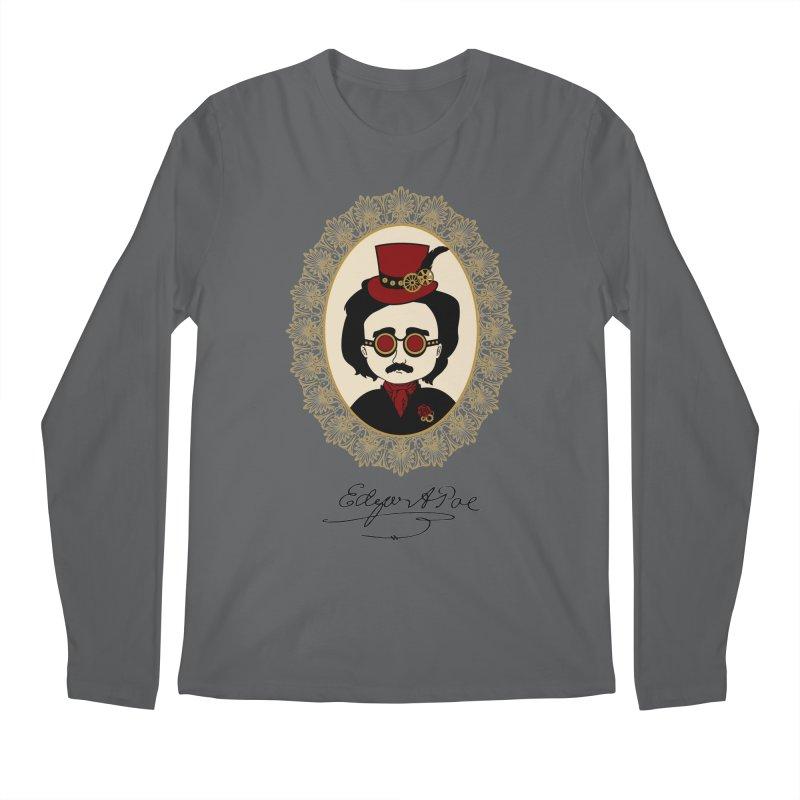 Steampunk Edgar Allan Poe Men's Longsleeve T-Shirt by Ellygator's Artist Shop