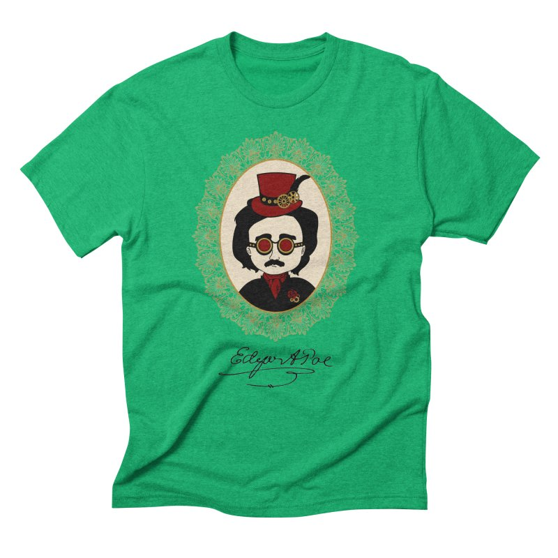 Steampunk Edgar Allan Poe Men's Triblend T-Shirt by Ellygator's Artist Shop
