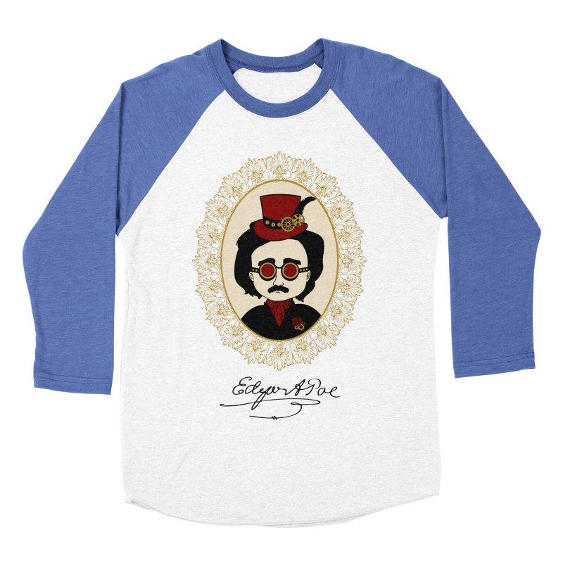 Steampunk Edgar Allan Poe Women's Baseball Triblend T-Shirt by Ellygator's Artist Shop