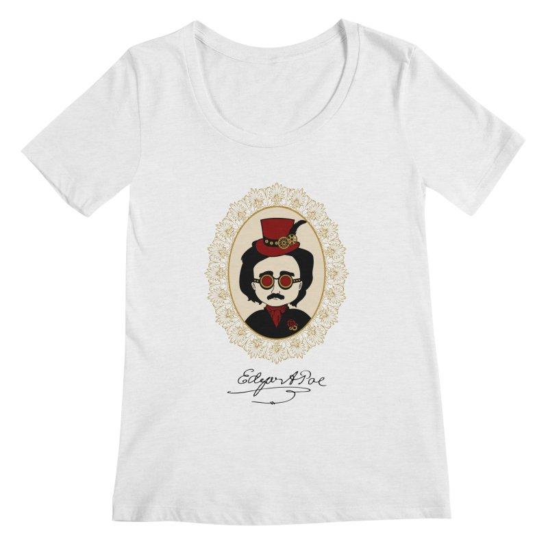 Steampunk Edgar Allan Poe Women's Scoopneck by Ellygator's Artist Shop