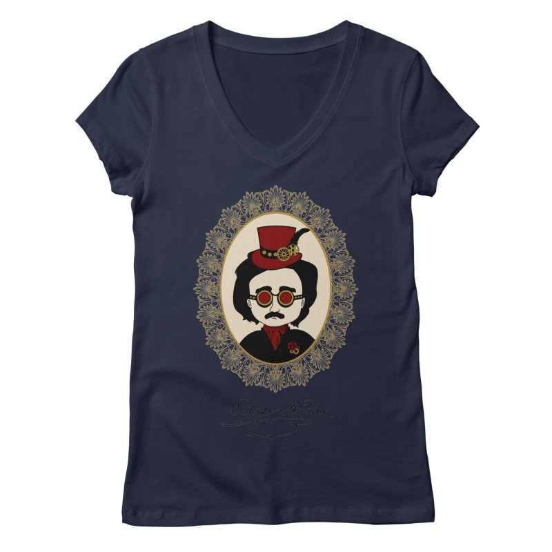 Steampunk Edgar Allan Poe Women's V-Neck by Ellygator's Artist Shop
