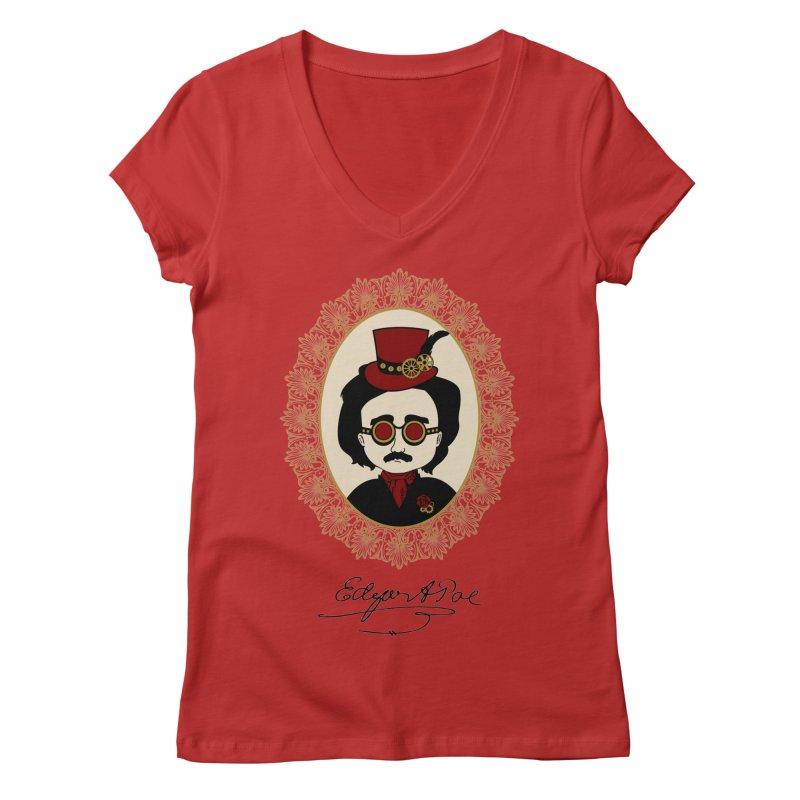 Steampunk Edgar Allan Poe Women's V-Neck by Ellygator's Artist Shop