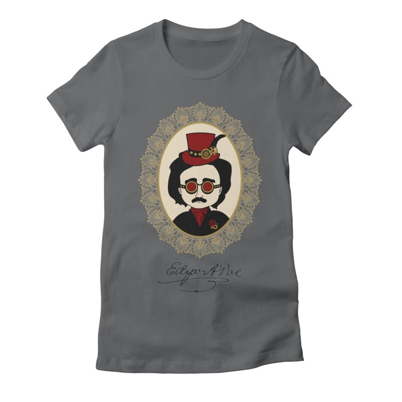 Steampunk Edgar Allan Poe Women's Fitted T-Shirt by Ellygator's Artist Shop