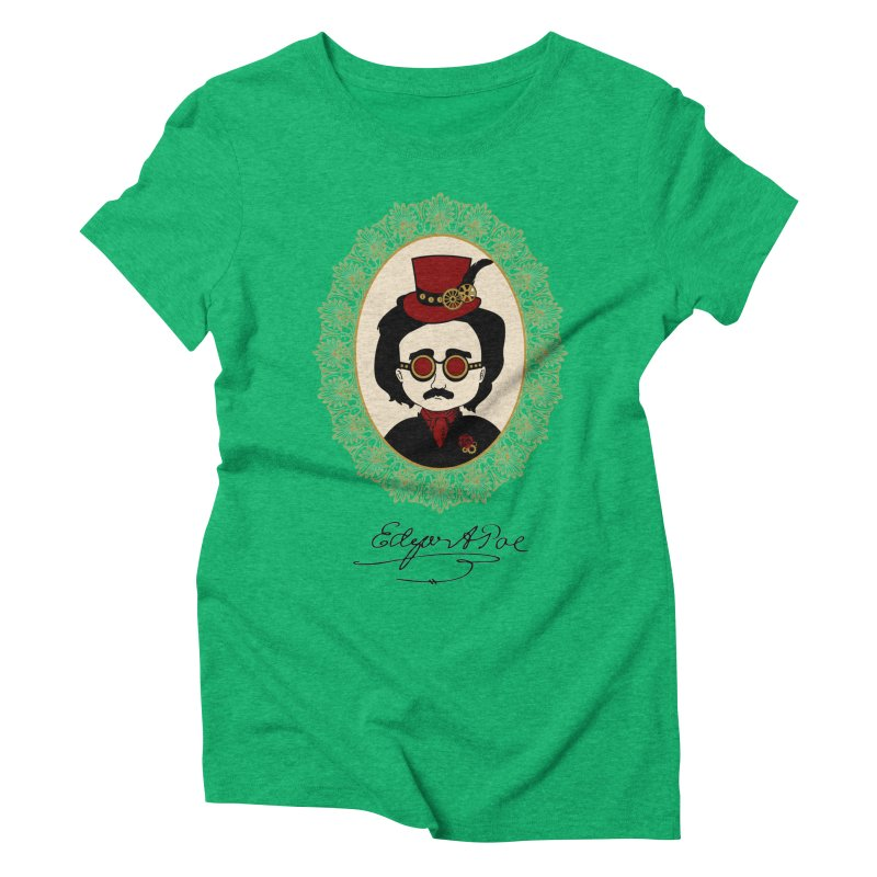 Steampunk Edgar Allan Poe Women's Triblend T-shirt by Ellygator's Artist Shop