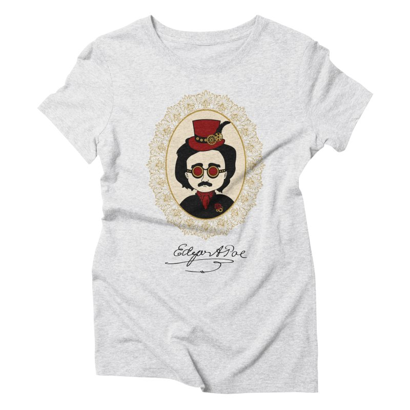 Steampunk Edgar Allan Poe Women's Triblend T-shirt by Ellygator's Artist Shop