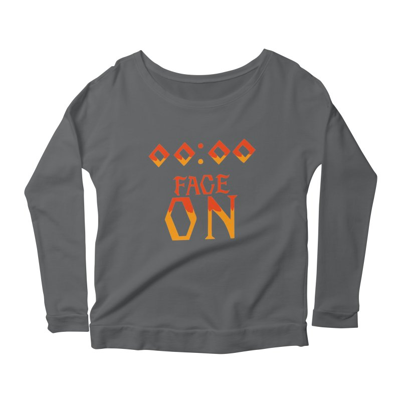 FACE ON Women's Longsleeve Scoopneck  by Ellygator's Artist Shop