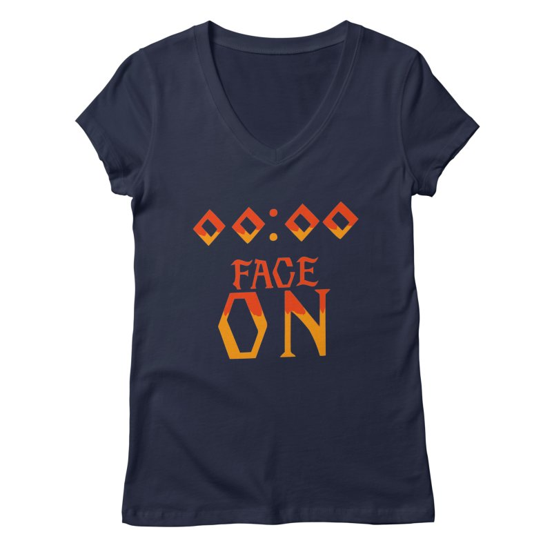 FACE ON Women's V-Neck by Ellygator's Artist Shop