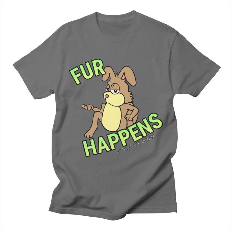 FUR HAPPENS - Elmur the Bunny Men's T-Shirt by The Rabbit Hole - Elmur the Bunny Shop