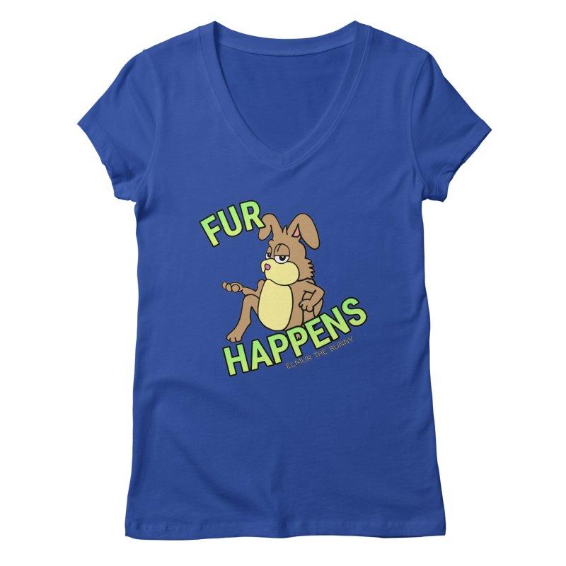 FUR HAPPENS - Elmur the Bunny Women's V-Neck by The Rabbit Hole - Elmur the Bunny Shop