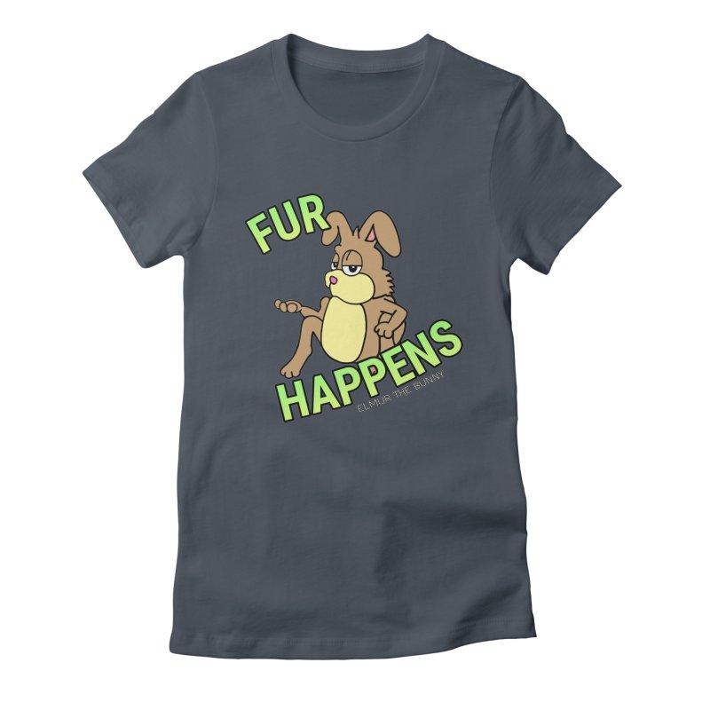 FUR HAPPENS - Elmur the Bunny Women's T-Shirt by The Rabbit Hole - Elmur the Bunny Shop