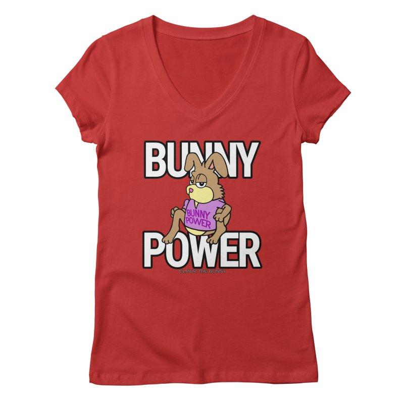 BUNNY POWER - Elmur the Bunny Women's V-Neck by The Rabbit Hole - Elmur the Bunny Shop