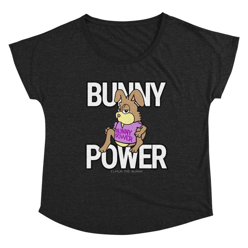 BUNNY POWER - Elmur the Bunny Women's Scoop Neck by The Rabbit Hole - Elmur the Bunny Shop