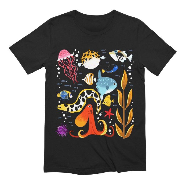 Ocean Life Shirt in Men's Extra Soft T-Shirt Black by ElsaSketch Shop