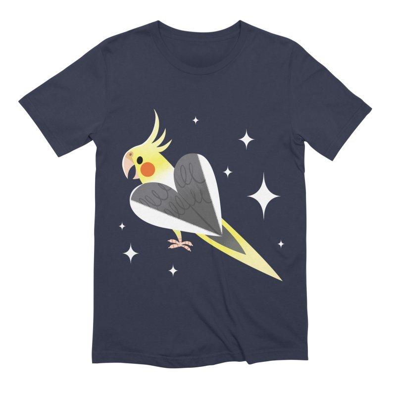Cockatiel Shirt in Men's Extra Soft T-Shirt Navy by ElsaSketch Shop