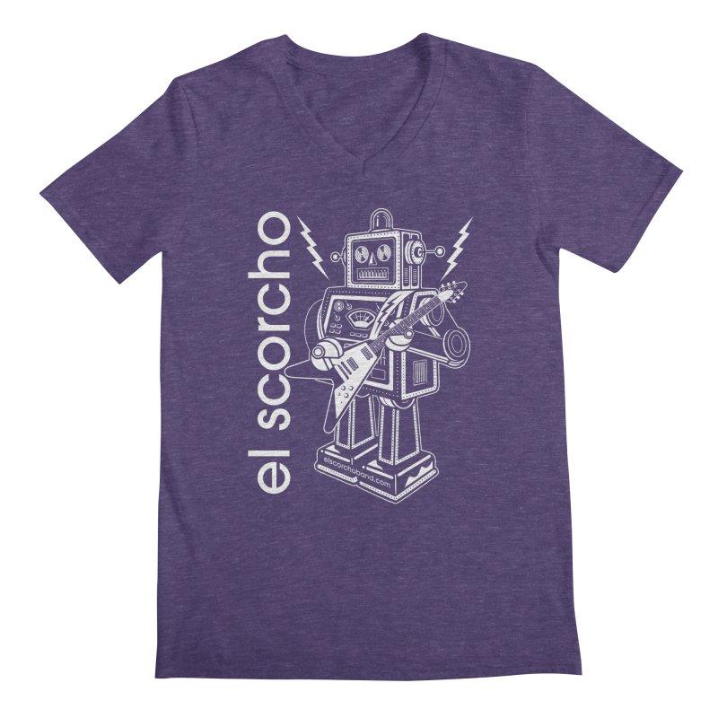 El Scorcho Robot (White Print) Men's Regular V-Neck by ATL Tribute Bands Shop