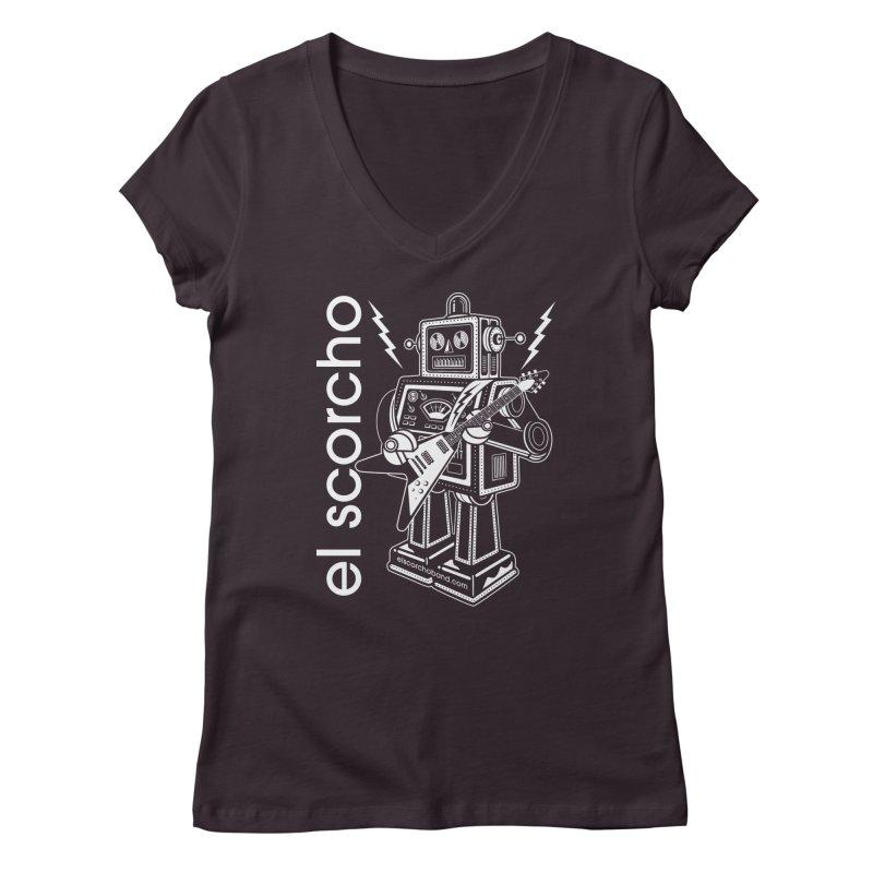El Scorcho Robot (White Print) Women's V-Neck by ATL Tribute Bands Shop