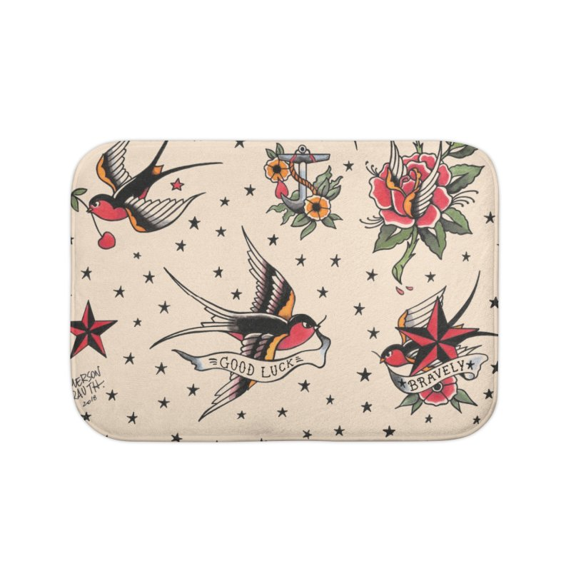 Old School Tattoo Style Home Bath Mat by Emerson Rauth