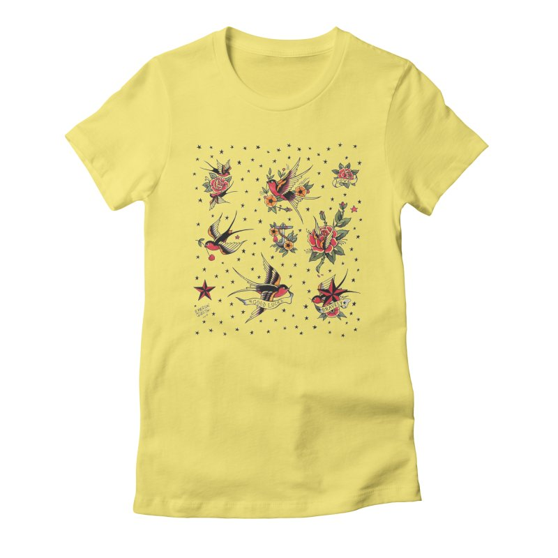 Old School Tattoo Style Women's Fitted T-Shirt by Emerson Rauth