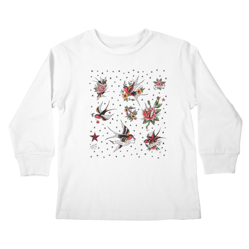 Old School Tattoo Style Kids Longsleeve T-Shirt by Emerson Rauth