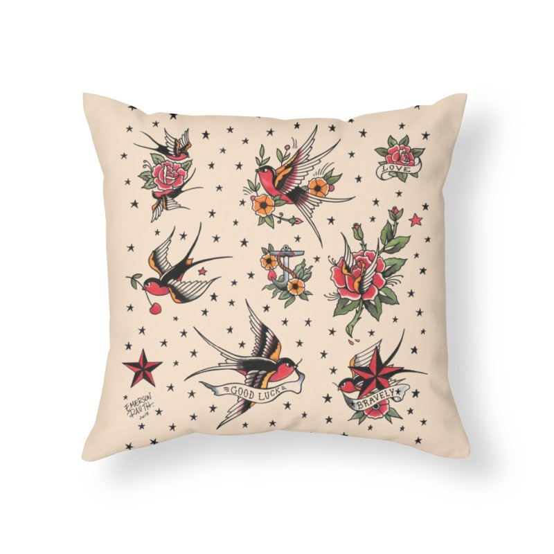 Old School Tattoo Style Home Throw Pillow by Emerson Rauth