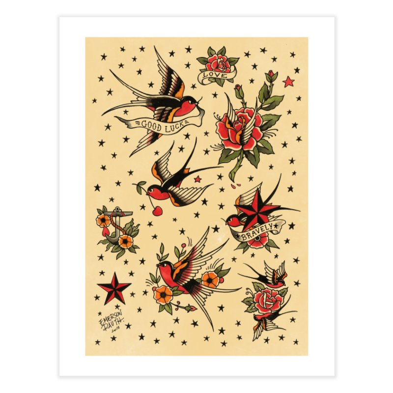 Old School Tattoo Style Home Fine Art Print by Emerson Rauth