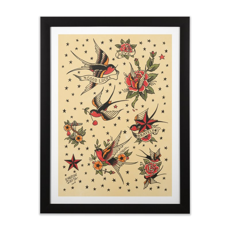 Old School Tattoo Style Home Framed Fine Art Print by Emerson Rauth