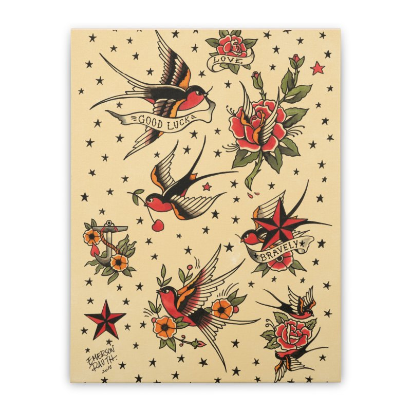 Old School Tattoo Style Home Stretched Canvas by Emerson Rauth