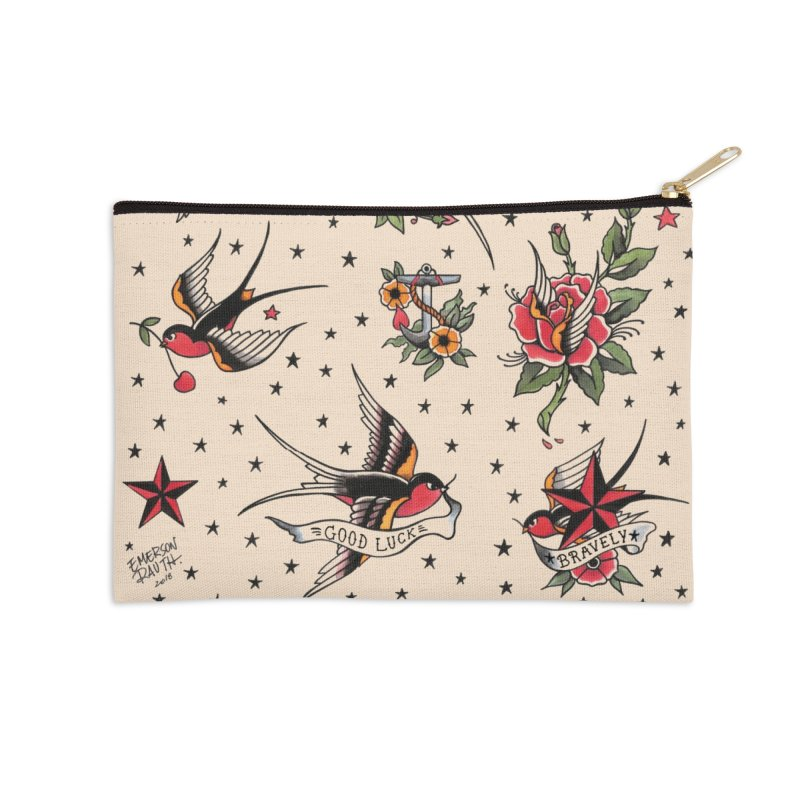 Old School Tattoo Style Accessories Zip Pouch by Emerson Rauth