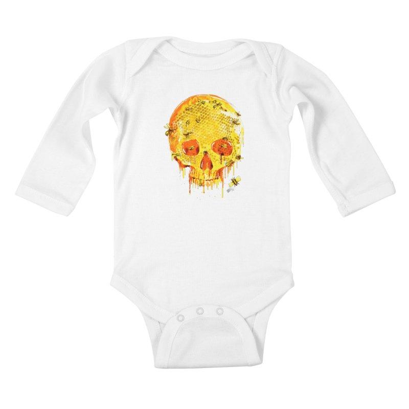 HONEY SKULL Kids Baby Longsleeve Bodysuit by Emerson Rauth